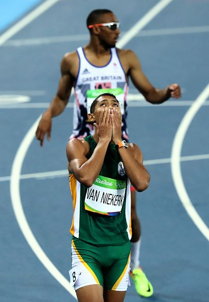 Wayde van Niekerk of South Africa reacts after winning the Men's 400 meter final…
