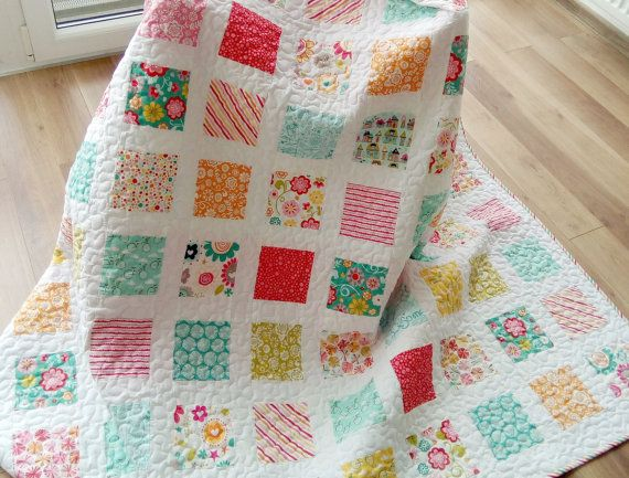 Quilts on Sale /Twin Quilt / Modern Quilt / by Hearttoheartquilts
