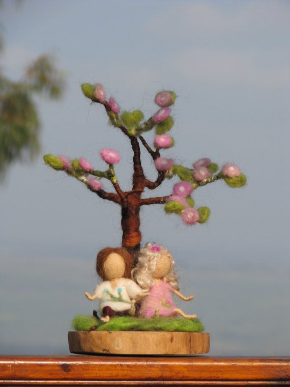 needle felted spring tree