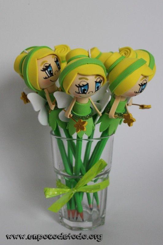www.unpocodetodo.org - Fofulápices de Campanilla y Peter Pan - Fofulápices - Goma eva - birthday - crafts - cumpleaños - disney - fiesta - foami - foamy - fofuchas - manualidades - party - princesas - princess - 4