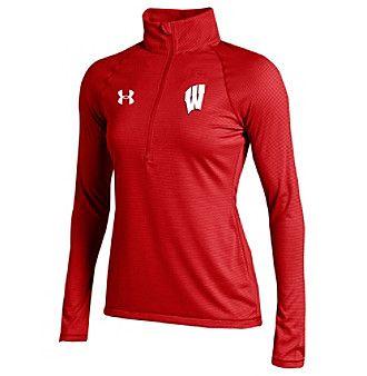 Under Armour® NCAA® Wisconsin Badgers Women's Stripe Half Zip Pullover