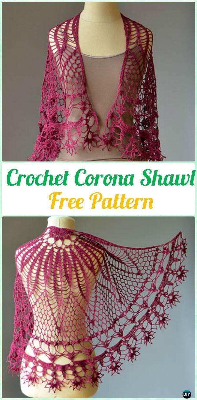Crochet Corona Shawl Free Pattern - #Crochet Women #Shawl Sweater Outwear Free Patterns