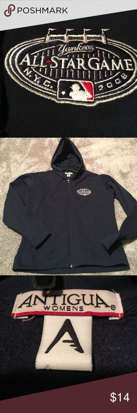 Yankees navy zip up hoodie Fits medium to fitted large. Never worn. Super soft interior. Plain back. Antigua Jackets & Coats