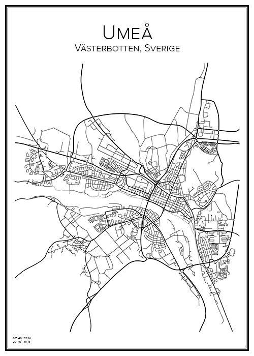 Handritad affisch över staden Umeå i Västerbotten. Här kan du beställa stadskarta över din stad och andra svenska samt utländska städer.