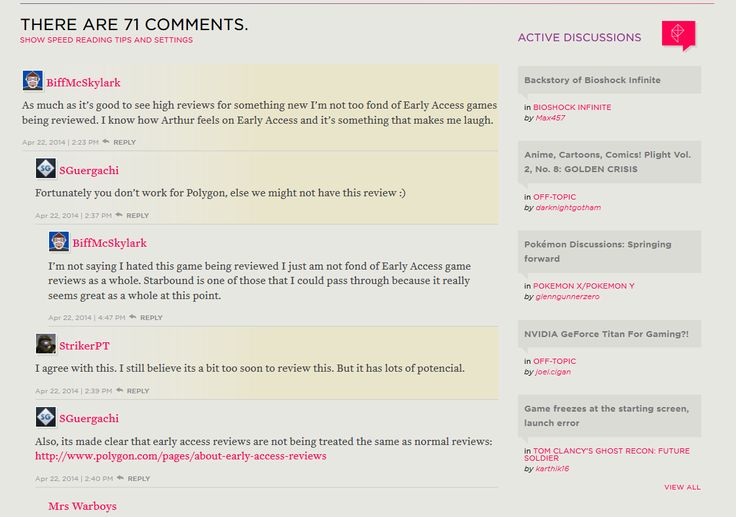 #UX #Ui #comments #blog #magazine Active discussions www.polygon.com
