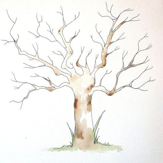 Small Fingerprint Live Oak Tree Wedding Guest Book Hand Drawn: Thumbprint Tree Guest Book Fingerprint Tree By