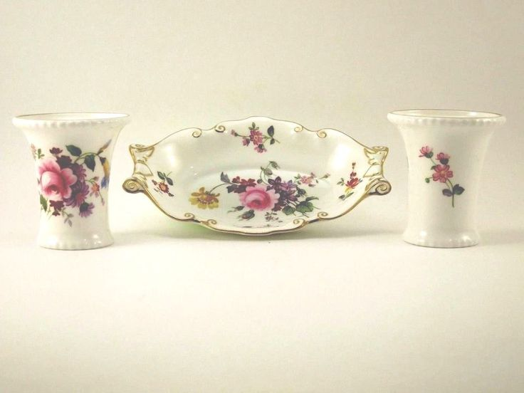 "Royal Crown Derby Set of 3 Relish Dish Tray 5.5"" & Toothpick Holders POSIES EUC"