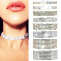 Fashion Women Full Diamond Crystal Rhinestone Choker Necklace Wedding Jewelry