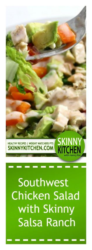 Southwest Chicken Salad with Skinny Salsa Ranch. It's so healthy and satisfying, One large salad, including dressing, has 234 calories, 9g fat & 6 Weight Watchers POINTS PLUS. http://www.skinnykitchen.com/recipes/southwest-chicken-salad-with-skinny-salsa-ranch/