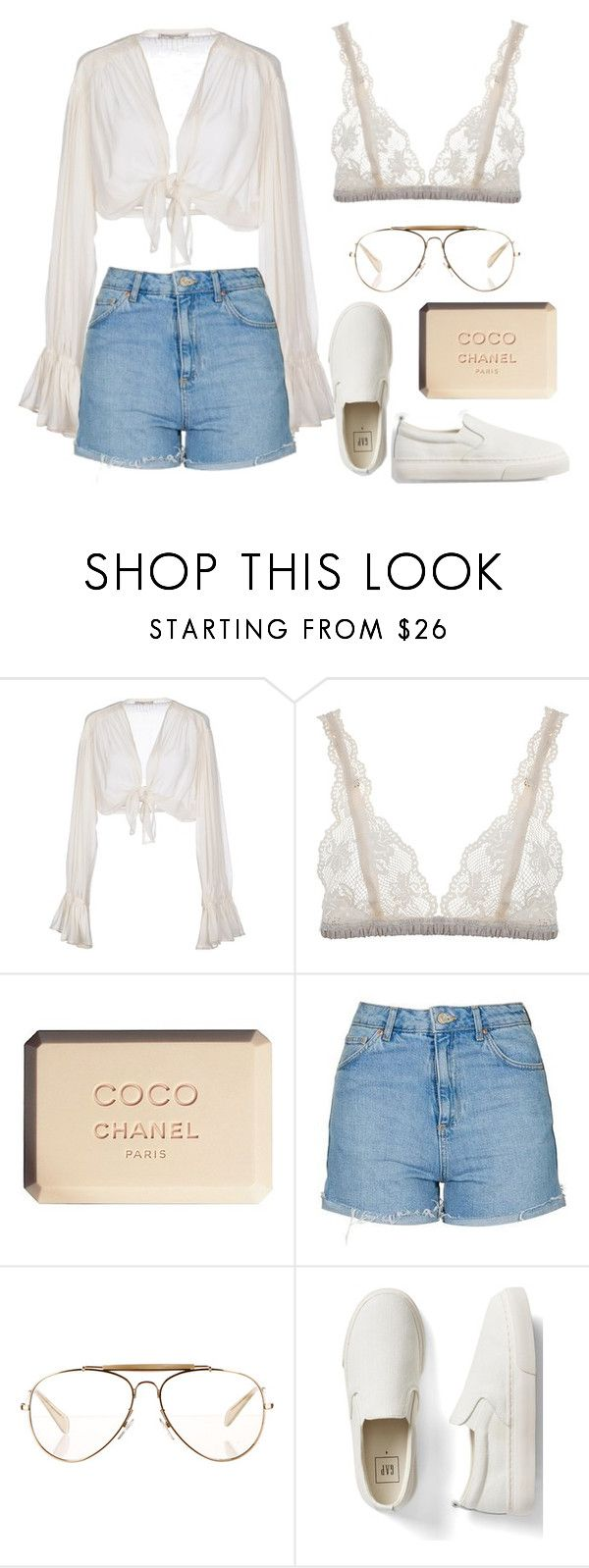 """""""Coachella #6 - Sweet Pies"""" by one-direction-outfits-of-the-day ❤ liked on Polyvore featuring Mes Demoiselles..., Lonely, Chanel, Topshop, CÉLINE, Gap, outfit, festival, coachella and INSPIRE"""