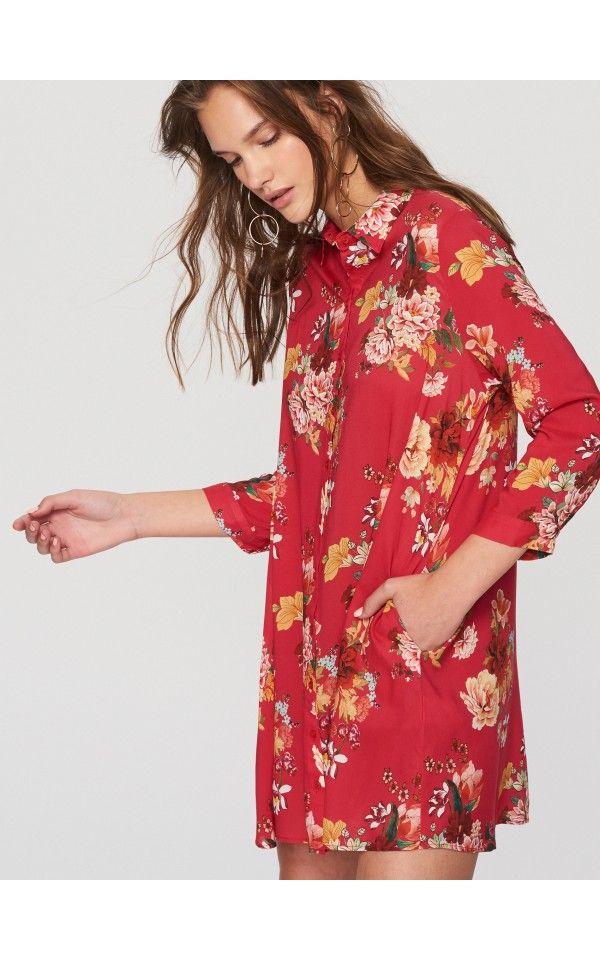 Sukienka w kwiaty, Sukienki, kombinezony, czerwony, RESERVED