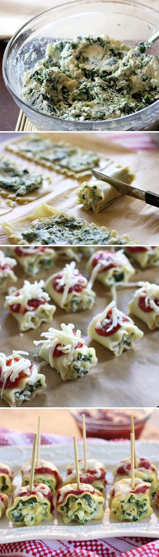 Mini Spinach Lasagna Roll-Ups -8 lasagna noodles, cooked  -1 (10 ounce) package frozen chopped spinach, thawed and well drained  -1 (15 ounce) container ricotta  -1/2 cup Parmesan cheese  -1 egg  -1/2 teaspoon minced garlic  -1/2 teaspoon Italian seasonings  -salt and pepper,  -1 (15 ounce) can pizza sauce  -1 cup shredded mozzarella cheese.  Bake 350 for 18-20 min