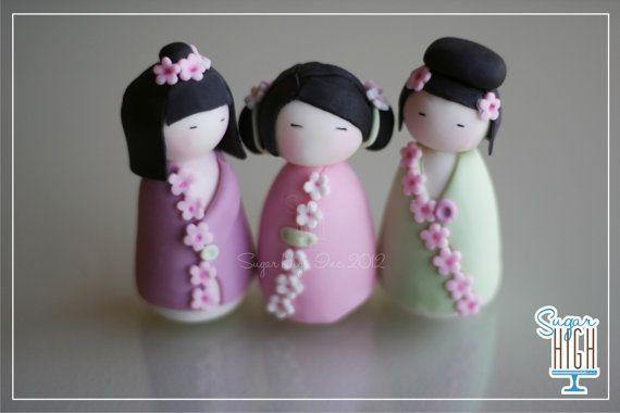 Fondant Kokeshi Doll Toppers
