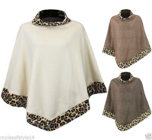 Mujeres Estampado De Leopardo Ponchos Cálido, Para Dama Cruzado Chal Capa Polar   eBay