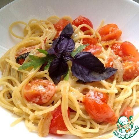 Спагетти с базиликом, томатами, чили и чесноком ингредиенты