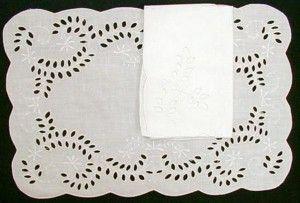 BRODERIE ANGLAISE 100% LINEN EMBROIDERED PLACE MAT NAPKIN SET http://bit.ly/1KNQk6c #dining #table #set #lace #cotton #battenburg