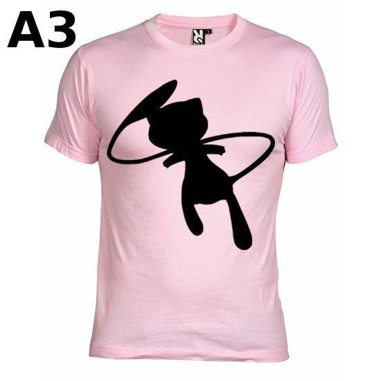"""T-shirt Rose pour Homme (différentes tailles dispo), logo """"Mew"""" - Format d'impression au choix: A3 ou A4"""