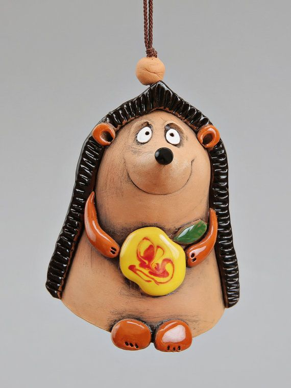 Ceramic Hedgehog Bell Hedgehog with apple School by Molinukas, €6.00