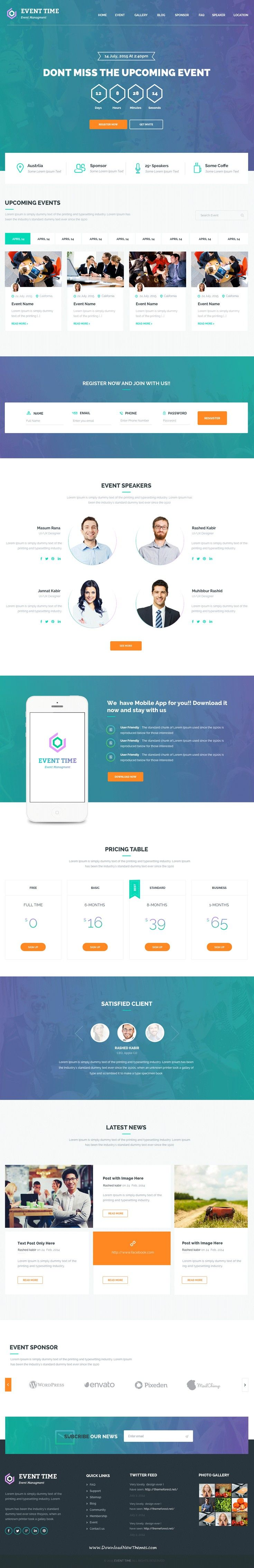 Event Time is a Responsive WordPress Theme for #conference, meeting, webinar and…