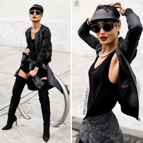 Fashion blogger Micah Gianneli featuring the IISON frames, Axis Bomber Jacket and Warrior Shirt