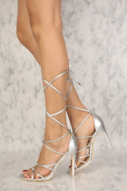 2958d0011f9 Sexy Silver Strappy Knot Open Toe High Heels Faux Leather