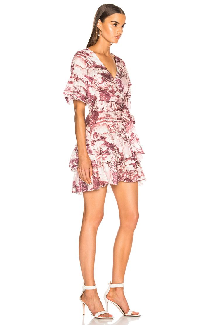 Image 2 of Zimmermann Kali Hawaiian Mini Dress in Hawaiian Print