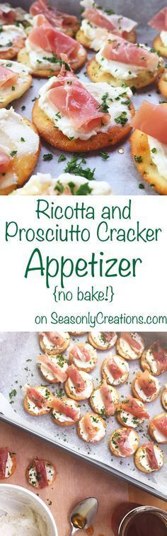 Ricotta and Prosciutto Cracker Appetizer recipe, perfect for your next holiday party! This is a no-bake recipe that costs under $10 and takes less than 20 minutes to make. Wow holiday party goers with creamy ricotta, prosciutto and a light honey drizzle over every cracker. Click through for the full recipe!   SeasonlyCreations.com   @SeasonlyBlog