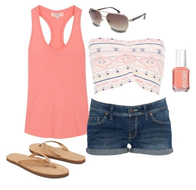 Peach and crop top casual