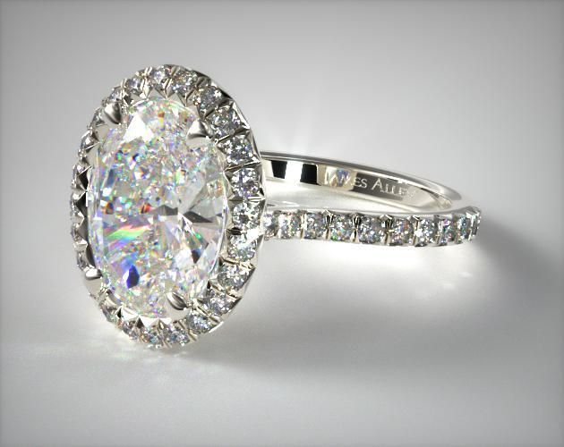 14K White Gold Pave Set Engagement Ring (Oval Center) sapphire possible