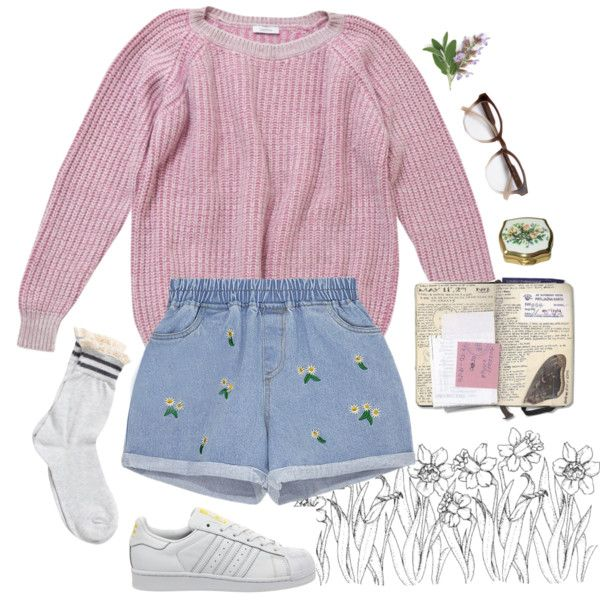 A fashion look from September 2015 featuring Leetha sweaters, Pieces socks and adidas sneakers. Browse and shop related looks.