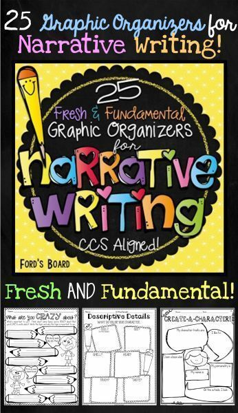 This set of 25 Fresh and Fundamental Narrative Writing Organizers will help your students analyze, plan, and structure their narrative writing! Each graphic organizer is engaging, appealing, and aligned with Common Core Standards in Writing.