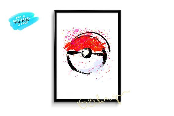 Pokemon Poster Poke Ball watercolor poster poké ball poster