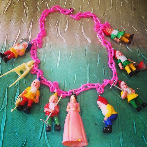 Vintage celluloid early plastic Snow White & Dwarfs necklace