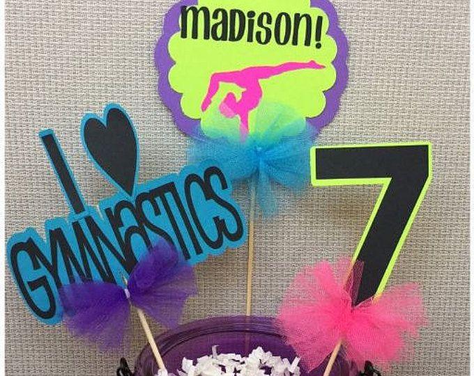 3pcs Gymnastics Centerpiece (1 I love Gymnastics, 1 Name, 1 Number), Gymnastics Party, Gymnastics Birthday, Gymnastics Decor, Gymnast Party