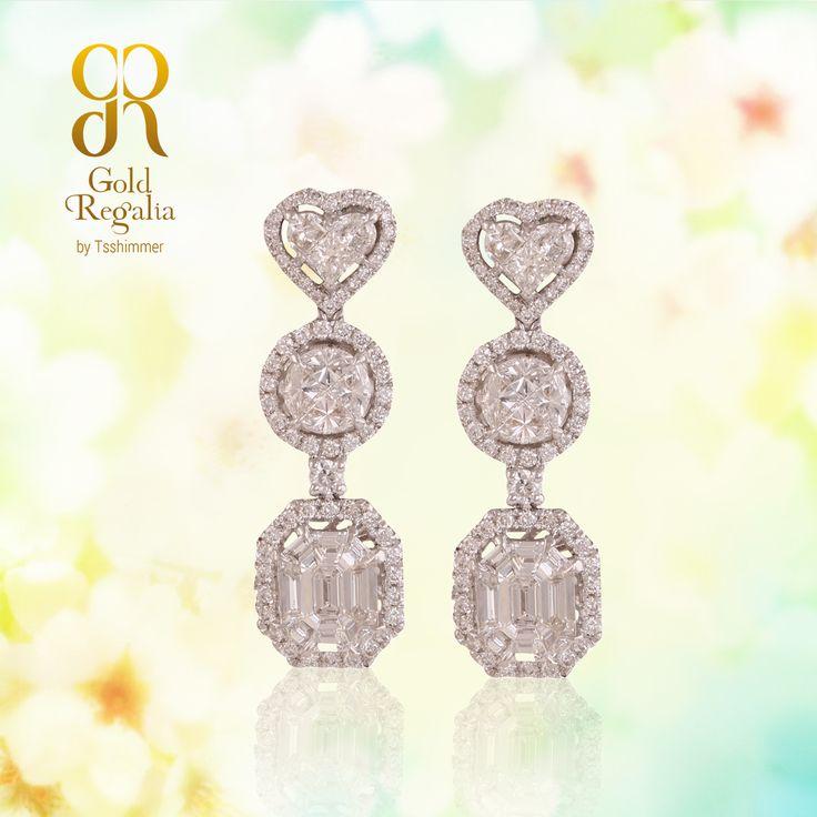 Safira- #Earring by Gold Regalia https://goo.gl/uYnnto #DiamondJewelry #DiamondNecklace #WomensJewelry #IndianJewelry #Pendants #Mangalsutra #Ring #Gold