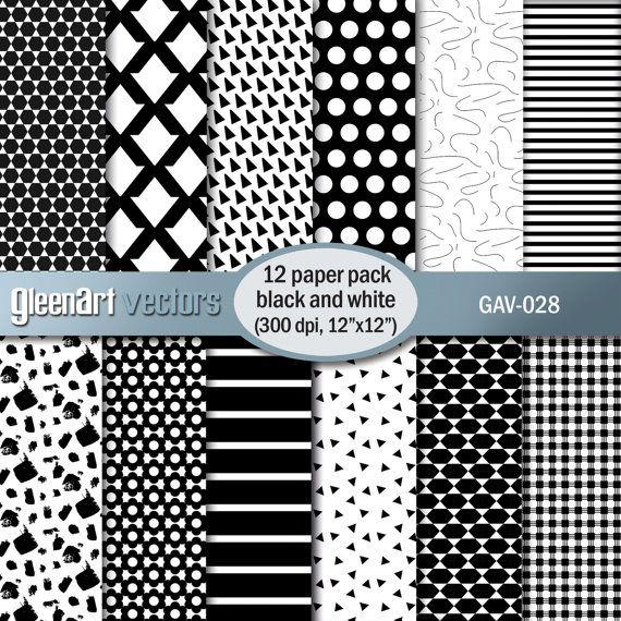 Black and white digital paper Geometric digital paper by GleenArt
