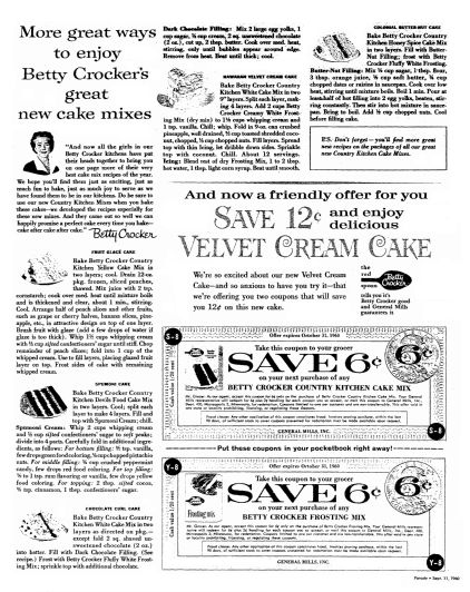 "Betty Crocker cake recipes, published in the Oregonian newspaper (Portland, Oregon), 11 September 1960. Read more on the GenealogyBank blog: ""Betty Crocker: America's Favorite Fictional Cook."" http://blog.genealogybank.com/betty-crocker-americas-favorite-fictional-cook.html"