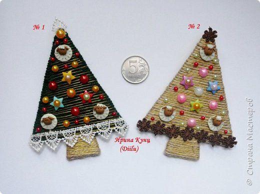Поделка изделие Новый год Аппликация Магниты Новогодние елочки  фото 1