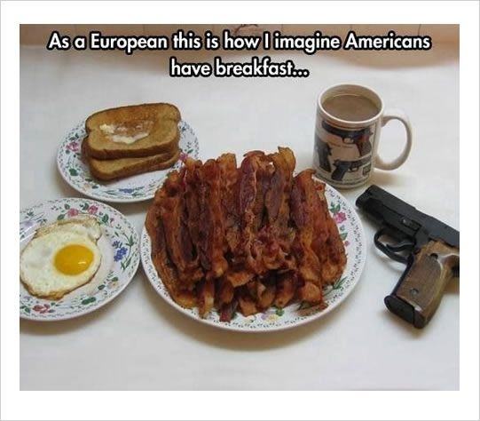 This is 100% true. This is exactly how I eat breakfast. I don't even eat bacon but this is exactly what my breakfast looks like.
