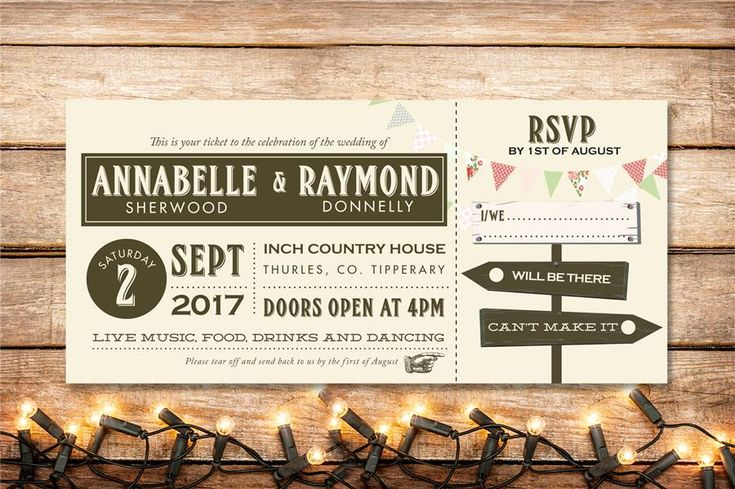 Festival Ticket Wedding Invitation with bunting and fun sign posts. Customise and order yours here: http://www.appleberrypress.com/wedding_stationery_718_Festival-Ticket-Invitation Brown and cream vintage style ticket wedding invitation with various fonts.
