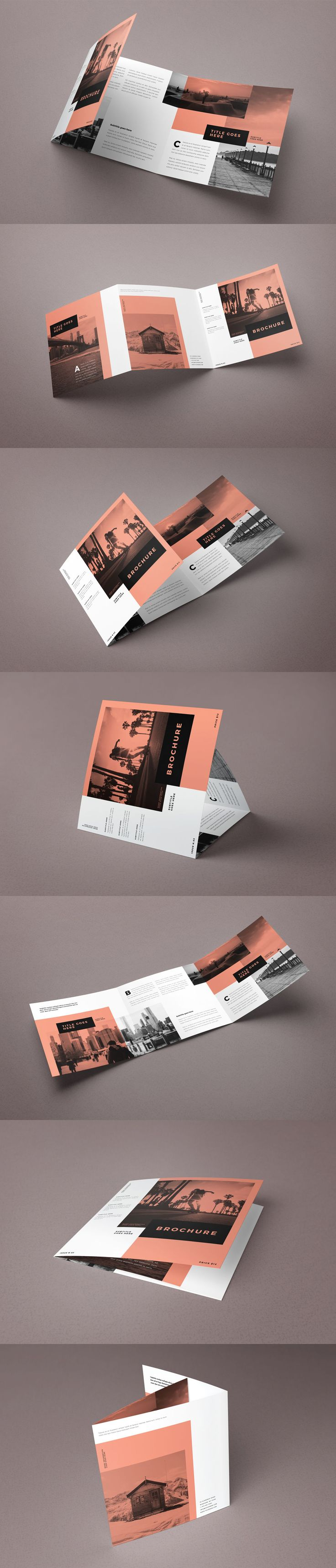 Square Minimal White Simple Trifold Brochure Template InDesign INDD