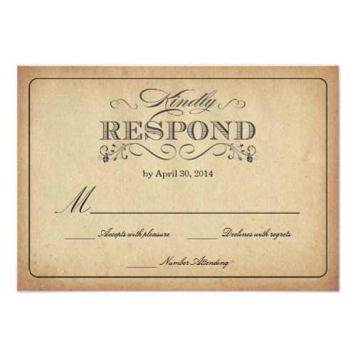 Formal Wedding Invitation RSVP Vintage Stained Parchment Reply Card