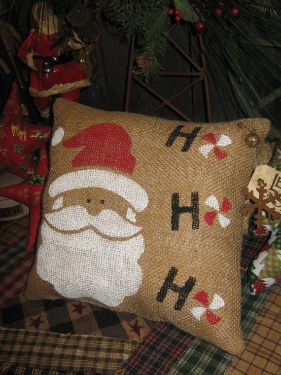 Primitive Holiday Burlap Pillow Tuck