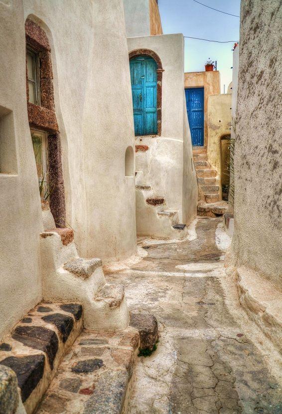 The village of Emporio on Santorini, Cyclades, Greece