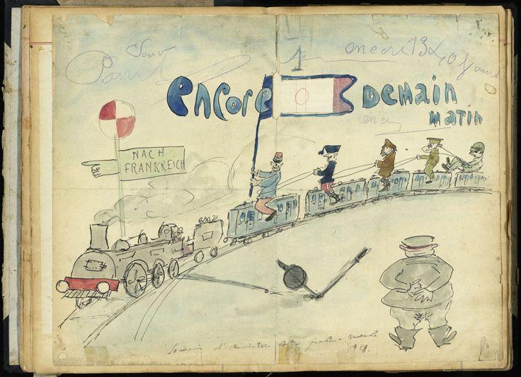 Dans le carnet du caporal Roger Fantoullier, la fin de la guerre vue avec humour. AN, 700AP/PA_023. © Archives nationales.