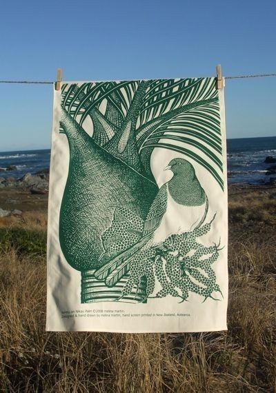 Kereru bird printed tea towel