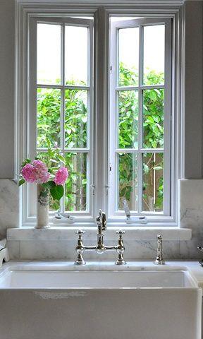 marble   farm sink   window