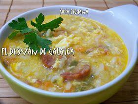 Esta es una sopa bastante consistentey nosotros, el otro día, la comimos como plato único, porque con las cantidades que lleva sale ...