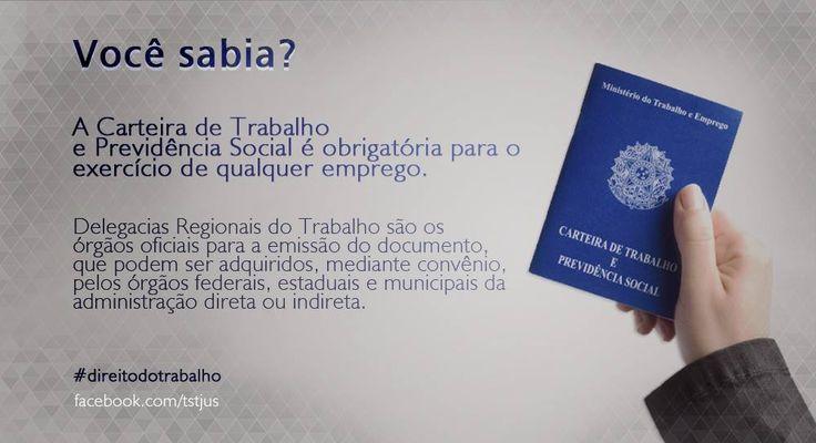 A Carteira de Trabalho e Previdência Social (CTPS) é obrigatória para quem presta serviços no Brasil. O documento garante o acesso a alguns dos principais direitos trabalhistas, como seguro-desemprego, benefícios previdenciários e Fundo de Garantia do Tempo de Serviço (FGTS), Programa de Integração Social (PIS).   #DireitodoTrabalhador #direito #trabalhador #trabalho #emprego #CTPS #documento #obrigatório   Fonte: Tribunal Superior do Trabalho