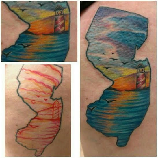 State of New Jersey jersey shore lighthouse female tattoo by Gabe